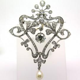 Exceptionnelle broche Belle époque en platine diamants et perle fine Joséphine 190