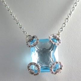 Collier en or blanc topaze et diamants Gucci Horsebit Cocktail 264