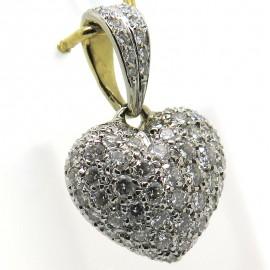 Pendentif cœur en or pavé de diamants Cupidon 327