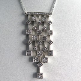 Collier à pampilles en or blanc et diamants – Cascade 297