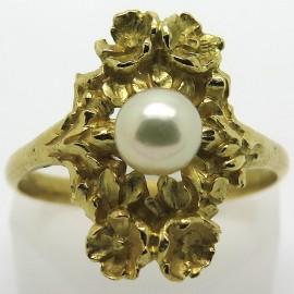 Bague marquise ancienne en or jaune et perle 1919