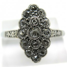 Bague navette diamants taille ancienne Justine 1928