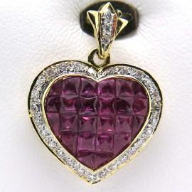 Pendentif cœur en or jaune rubis calibrés entourage diamants 331