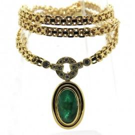 Collier en émeraude et diamants sur monture vintage en or jaune 308