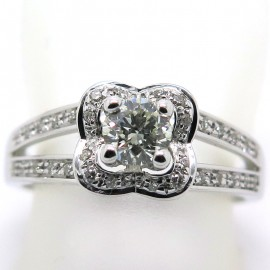 MAUBOUSSIN BAGUE - Solitaire Chance of Love en or blanc et diamants 1937