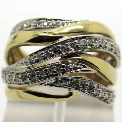 Bague vintage en or blanc et or jaune sertie de diamants – Modèle Passion 1929