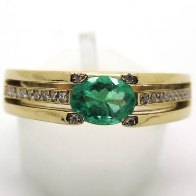 Bague Vintage En Or Jaune Emeraude Et Diamants 1963