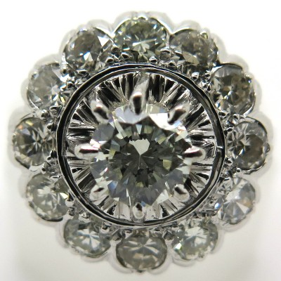 Bague ronde diamants platine or blanc 1750