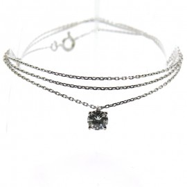Collier diamant solitaire sur or blanc 309
