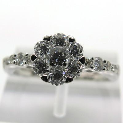 Bague de fiançailles forme fleur pavée de diamants modèle contemporain 1923