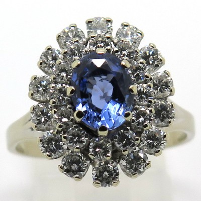 Bague haute joaillerie saphir de Ceylan diamants 1411