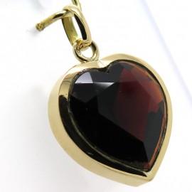 Pendentif coeur en grenat et or rose 337