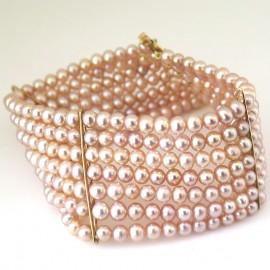 Bracelet de perles de culture roses 209