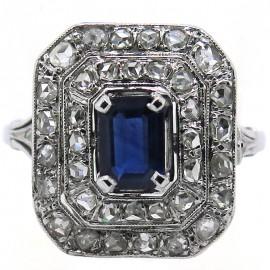 Bague ancienne rectangulaire saphir diamants taille rose Angèle 1943