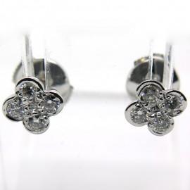 Boucles d'oreilles trèfle diamant en or blanc 229