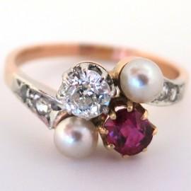 Bague Toi et Moi rubis diamant perles Belle Époque 1782