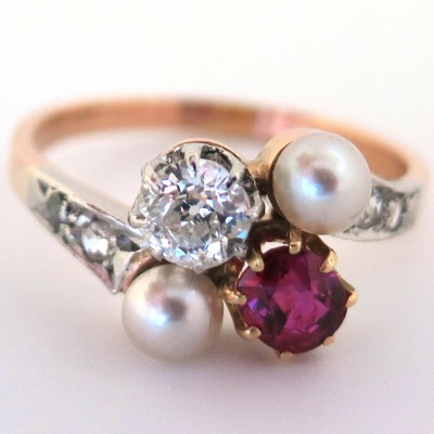 bague perle et rubis