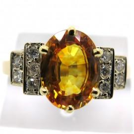 SAPHIR JAUNE - Bague saphir jaune épaulée de diamants Sophie 1968
