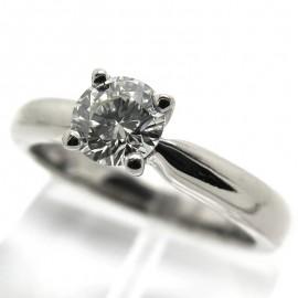 Solitaire diamant 0,52 carat sur monture en or blanc 1926