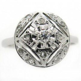 Bague ancienne platine or blanc diamants 2190