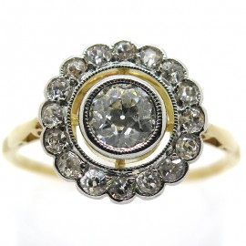 Bague marguerite ancienne diamants platine or jaune 1951