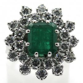 Bague émeraude double entourage de diamants 2178