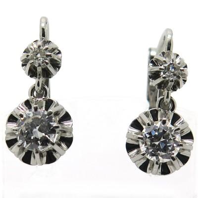 Boucles D Oreilles Dormeuses En Platine Et Diamants 230