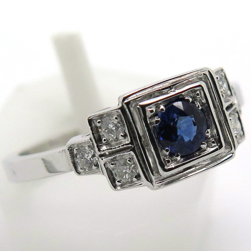 Bien-aimé de style art déco en or blanc saphir et diamants en dégradé 1757 LF88