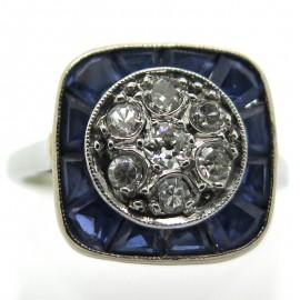Bague ancienne diamants pierres bleues calibrées 2182