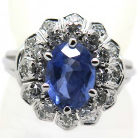 Bague saphir de Ceylan double entourage de diamants 1964
