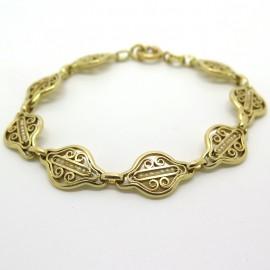 Bracelet ancien en or filigrané et perles fines 211