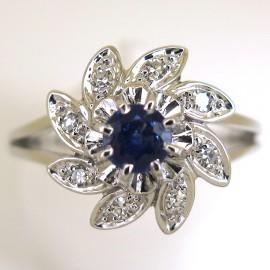 Bague de fiançailles vintage saphir diamants monture platine or blanc 1759