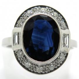 Bague de fiançailles saphir entourage diamants 2196