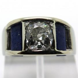 Bague ancienne en platine diamant coussin et lapis-lazuli 1909