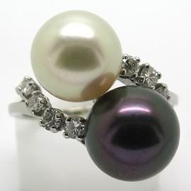 Bague perle Toi et Moi - Modèle noir et blanc Arthur et Margot 2197