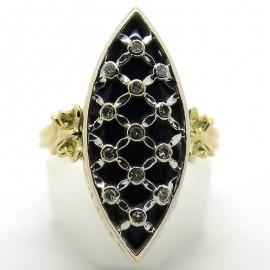 Bague marquise en or émail noir et diamants 2199