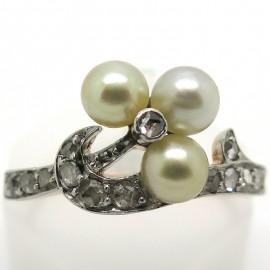 Bague Belle Epoque perles diamants Emilie 2206