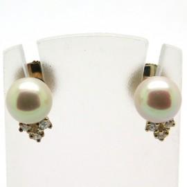 Boucles d'oreilles perle diamant 234