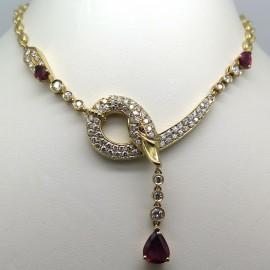 FRED JOAILLIER – Collier cygne en or rubis diamants 268