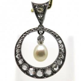 Pendentif circa 1915 en platine perle et diamants Clémence 344