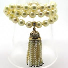 Collier de perles de culture et pendentif pompon 317