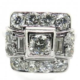 Bague ancienne d'époque art déco platine diamants - Modèle Catherine 2208