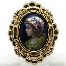 Emaux de Limoges - Pendentif broche en or et émail de Limoges Mercier 348