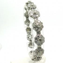 Bracelet ancien en platine et diamants fleurs polylobées 218