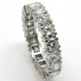 Alliance diamant tour complet en or blanc Taille 53 - Mariage 2202