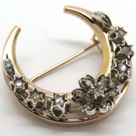 Broche ancienne en or argent et diamants Lune 195