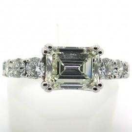 Bague diamant rectangulaire taille émeraude 2214