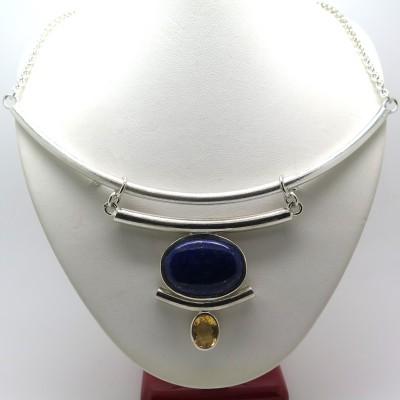Collier plastron en argent et lapis-lazuli - Création Philomène Thébault C126