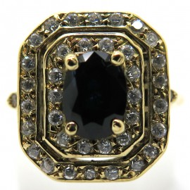 Bague octogonale en or jaune saphir double entourage de diamants 2231