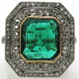 Bijoux anciens certifiés - Bague émeraude de Colombie 2230